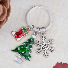 ONE CHRISTMAS SILVER PLATE KEY RING/BAG CHARM RING INCLUDES 3 CHARMS~61mm (X87)