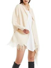 Oversized Blanket 100% Cashmere Scarf Shawl Wrap Solid Scotland Wool White