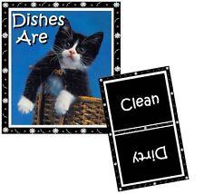 CAT DISHWASHER MAGNET (Tuxedo #4 - Kitten) -  (Clean/Dirty) Ship FREE!