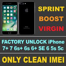 CLEAN IMEI SPRINT/BOOST/VIRGIN NETWORK UNLOCK CODE iPHONE 7+ 7 plus 6s+ 6s 6+ SE