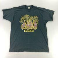 VTG Screen Stars Bahamas Single Stitch Sailboats Palm Trees T-Shirt Black •XL