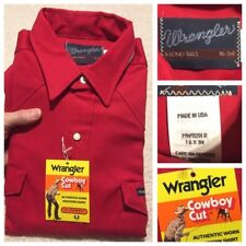 70s NOS NEW Wrangler Red Denim Shirt Cowboy Cut Pearl Snap Shirt L 16X34 USA