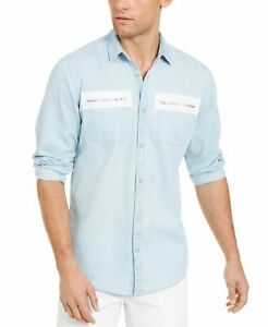 INC Mens Shirt Classic Light Solid Blue Size XL Zip Detail Button Down $65 266