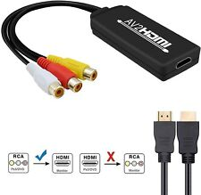 RCA to HDMI Converter, AV to HDMI Adapter, 3RCA CVBS Composite to Audio Video