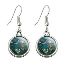 Eastern Bluebirds Blue Birds Thrush Novelty Dangling Drop Charm Earrings