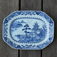 18th Century Chinese Export Blue & White Dish Qianlong Octagonal dish #2