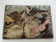 VINTAGE EHRMAN KAFFE FASSETT VICTORIAN CATS COMPLETED CANVAS CRAFT PROJECT