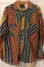 Sierra Pacific Mens Large Pearl Snap Western Blue Red Stripe Long Sleeve Shirt