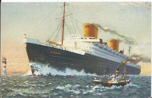 "Old German Postcard Norddeutscher Lloyd Bremen ""Europa"" Unused Sold as Per Scan"