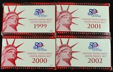 1999-2002 Silver Proof Sets.  Complete with box and COA Ships Free!