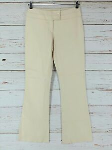 Cache Lamb Leather Pants Womens Size 8 Ivory Bootcut Lined Soft Supple New *