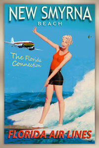 New Smyrna Florida Airlines DC-3 Travel Poster Sandra Dee Pin Up Art Print 249