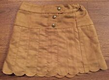 KIDS R US GIRLS SIZE 3 3T FAUX SUEDE PLEATED SCALLOP EDGE SKIRT LIGHT BROWN