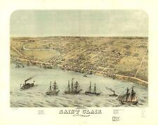 """18"""" x 24"""" 1868 Map Of Saint Clair Michigan Birds Eyeview"""