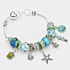 Blue Multi Bead Starfish & Turtle Silvertone Fashion Charm Bracelet