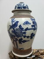 Chinese Blue White Porcelain Cracked Glaze Ginger Jar vases