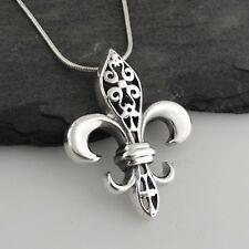 Fleur-de-lis Necklace  925 Sterling Silver Pendant French Symbol Fleur de lis SN