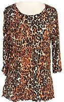 Daisy Queen Leopard Print Top Ruffled Tunic 3/4 Sleeve S M L XL Made in USA