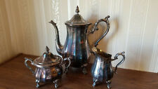Three pc Wm Rogers Silver Coffee Pot ,Creamer and Covered Sugar Bowl Set, Footed