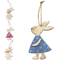 Easter Gift Wooden Easter Bunny Pendant Rabbit Home Decoration Hanging Tree AU