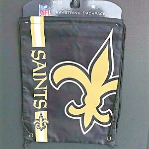 """New Orleans Saints Drawstring Backpack 13.5"""" x 18"""" Licensed NFL Product NEW -AU"""