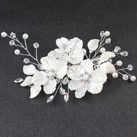 Bridal Crystal Pearl Flower Hair Clip Hair Jewelry Wedding Hair Accessory `AU