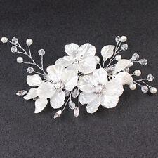 Bridal Crystal Pearl Flower HairClip Hair Jewelry WeddingHair Accessory LuxuryBX