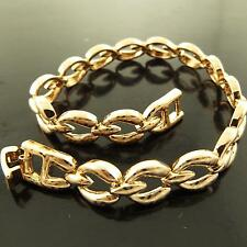 BRACELET CUFF BANGLE GENUINE REAL 18K  ROSE G/F GOLD LADIES ANTIQUE LINK DESIGN