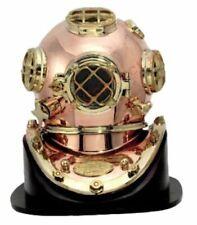 "U.S Navy Diving Helmet Mark V Amazing Quality+Wooden Base Brass Full size 18"""