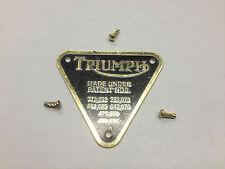 TRIUMPH PATENT PLATE BRASS!!!! TRI-COR All MODELS 1945-1979 T120 T100 TR6 T110
