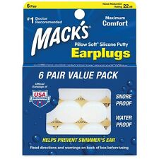 Mack's  Pillow Soft Earplugs swimmers ears swimming Value Pack 6 Pairs