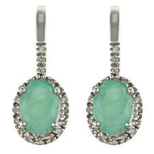 10k White Gold Genuine Emerald and Diamond Earrings (1/5 TDW)
