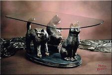 Neuheit Couchtisch Katzen Familie Wohnzimmertisch Tisch Glastisch Luxusmöbel