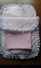 Bettwäsche Decke Kissen Laken und Matratze für Silver Cross Pionier Puppe Kinderwagen rosa