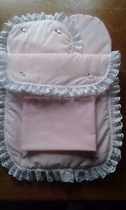 Bedding Quilt Pillow Sheet and Mattress for Silver Cross Classic Dolls Pram Pink