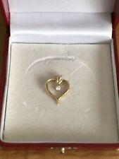 14 k gold pendant heart diamond