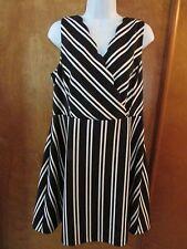 "Ladies ""ELLE"" Size 12, Black/White,Striped,Empire,Sleeveless,A-Line Skirt, Dress"