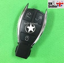 "MERCEDES BENZ 3 BUTTON SMART KEY FOB REMOTE CHROME CASE ""WITH LOGO"""