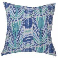 Set Of 2 Pcs Indian Ikat Kantha Cushion Cover 16x16 Decorative Throw Pillow Case