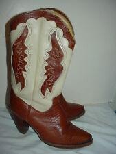 Vtg ZODIAC Lizard Look COGNAC/CREAM Leather WESTERN COWBOY BOOTS Women 7 M~HOT!!