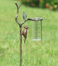 Woodpecker Bird Rain Gauge Metal Garden Stake Large Wide Mouth Glass Gauge