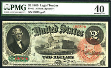1869, $2 FR 42 Rainbow Large Size Legal Rainbow PMG XF40