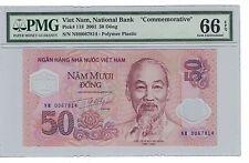 "VIETNAM  50 DONG 2001 "" Commemorative "" PMG-66 EPQ ( #PL167 )"
