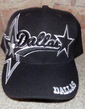 Dallas  BLACK Hat Cap Script Visor Embroidered Signature Double Cowboys Star