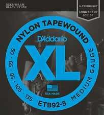 D'Addario ETB92-5 5-String Tapewound Bass Guitar Strings, Medium, 50-135, Long S