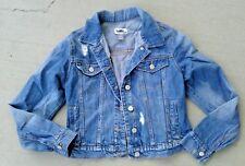 XL 14 Old Navy light blue girls distressed jean jacket coat destroyed denim