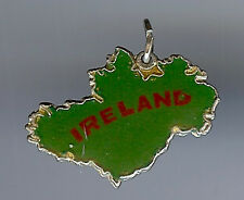 VINTAGE STERLING SILVER GREEN AND RED ENAMEL IRELAND COUNTRY CHARM