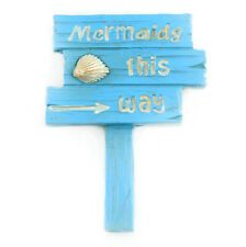 Mermaids This Way Sign - 2.5 x 2 inches, Resin, Miniature Fairy Garden Dollhouse