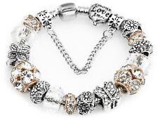 Girls Women Butterfly Crystal Pdora Rhinestone Bead Charm Bracelet Bangle