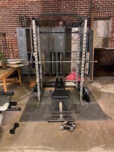 home gym weight set (squat rack, bench press, weights, dumb bells, foam pad)